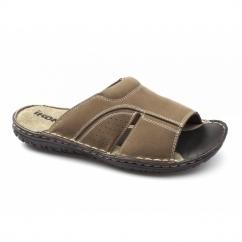 DEVON Mens Leather Nubuck Mule Sandals Tan