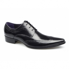 AREZZO II Mens Leather Lace Up Cuban Heel Shoes Black