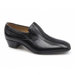 VIRGIL Mens Imitation Snakeskin Cuban Heel Shoes Crystal Black