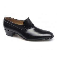 MIAMI Mens Leather Plain Cuban Heel Shoes Black
