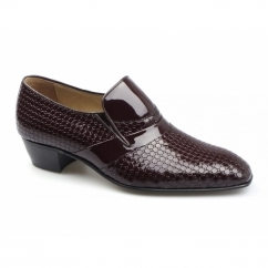 VEGAS Mens Patterned Patent Leather Cuban Heel Shoes Oxblood