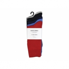 JJ BALAM Mens Cotton Socks 5 Pack Dress Blue