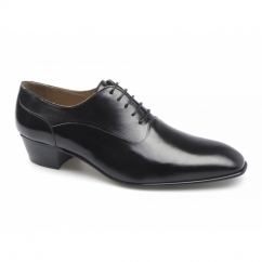 NEVADA Mens Leather Plain Cuban Heel Shoes Black