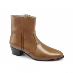 VALENTINO Mens Leather Cuban Heel Zip Boots Armangnac