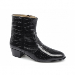 VALENTINO Mens Leather Croc Pattern Cuban Heel Zip Boots Black