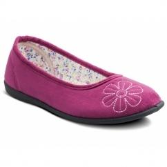 JOY Ladies Microsuede Wide Ballerina Slippers Cerise