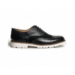 JAMIE Mens Scotch Grain Leather Suede Micro Sole Brogue Shoes Black