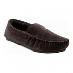 ALPS Mens Suede Wide Fit Moccasin Slippers Dark Brown