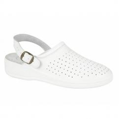 JESSE Mens Leather Mule Clogs Sandals White