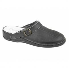 JESSE Mens Leather Mule Clogs Sandals Black