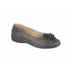 LAURIE Ladies Floral Brooch Flats Navy