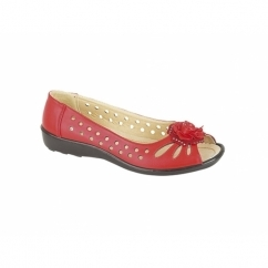 DAYNA Ladies Faux Leather Flower Peep Toe Flats Red