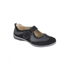 KATE Ladies Mary Jane Leather Velcro Sport Shoes Black