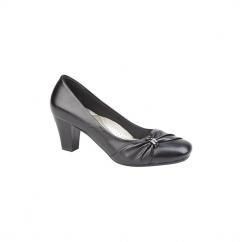 LISA Ladies Faux Leather Sash Detail Heeled Court Shoes Black