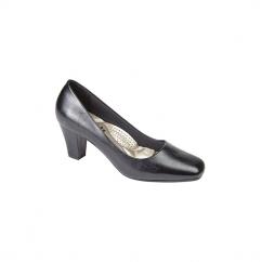 HANNAH Ladies Simple Mid Heel Court Shoes Black