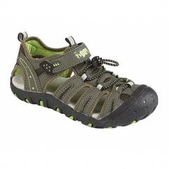 JIMMY Boys Nubuck Toggle Velcro Sports Sandals Dark Taupe/Lime