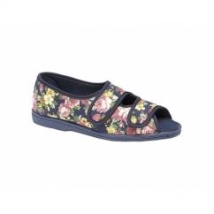 HELENA Ladies Wide Fit EE Twin Velcro Peep Toe Slippers Navy