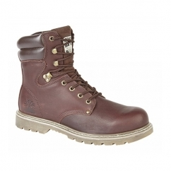 DARRELL Mens Leather Lace-Up Goodyear Welted Utility Boots Dark Brown