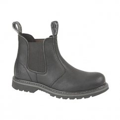 GABE Mens Leather Twin Gusset Chelsea Boots Black