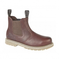 GABE Mens Leather Twin Gusset Chelsea Boots Dark Brown