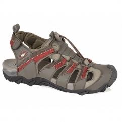 MARK Mens PU Toggle Sports Sandals Dark Brown/Red