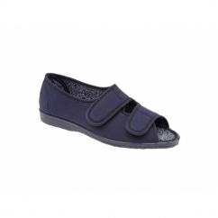 TINA Ladies Wide Fit EE Twin Velcro Peep Toe Slippers Navy