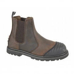 DEFENDER Mens Steel Toe Safety Chelsea Boots Brown