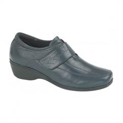 KAREN Ladies Velcro Wedge Leather Shoes Navy