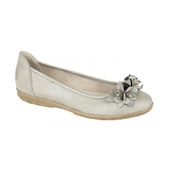 DAISY Ladies Floral Flat Pumps Pewter
