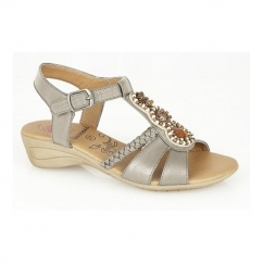 SHARNA Ladies Bejewelled Halter Back Sandals Bronze
