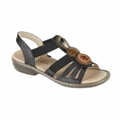 JASMINE Ladies Elasticated Halter Back Sandals Black