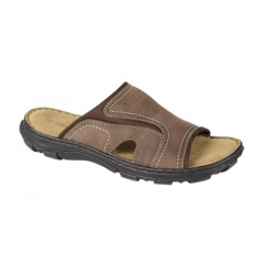THEO Mens Leather Slip On Mule Sandals Brown