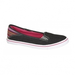 KAYLEE Ladies Canvas Slip On Patterned Plimsolls Black