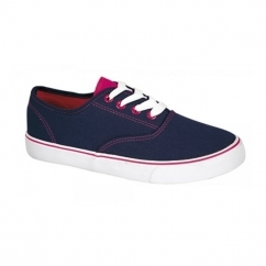 LEAH Ladies Canvas 2x Lace Up Trainers Navy