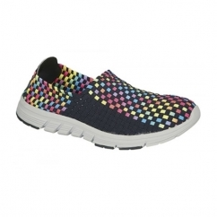 ZELDA Ladies Elasticated Lightweight Trainers Navy/Multi Coloured