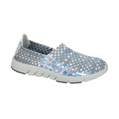 ZELDA Ladies Elasticated Lightweight Trainers Grey/Multi Coloured