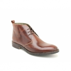 GREENWICH Mens Waxy Leather Chukka Boots Brown