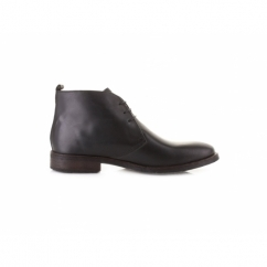 GREENWICH Mens Waxy Leather Chukka Boots Black