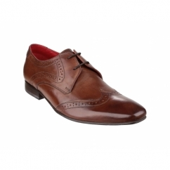 SEW Mens Leather Oxford Brogue Shoes Brown