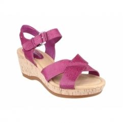 EVA FARRIS Ladies Wide Fit Wedge Sandals Magenta