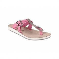ATHENS Ladies Slip-On Toe Post Sandals Grey/Pink