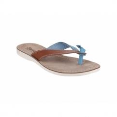 KOS Ladies Open Back Flip Flop Sandals Tan/Blue