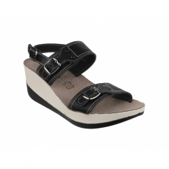 MYKONOS Ladies Halter Back Wedge Heel Sandals Black