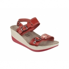MYKONOS Ladies Halter Back Wedge Heel Sandals Red