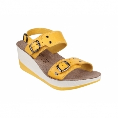 MYKONOS Ladies Halter Back Wedge Heel Sandals Yellow