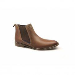 STYLE BOOT Mens Leather Chelsea Boots Tan