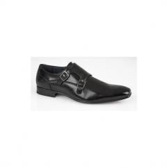 BRANDEN Mens Twin Buckle Monk Shoes Black