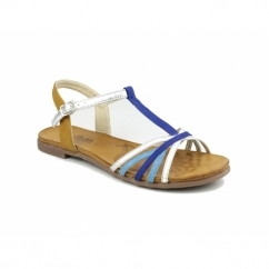 CHER Faux Leather Halter Back Sandals Blue