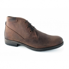 ELWOOD Mens Leather Derby Lace-Up Boots Chestnut