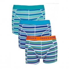 JJ MULTICOLOUR STRIPES Mens Trunks 3 Pack Capri Breeze/Estate Blue